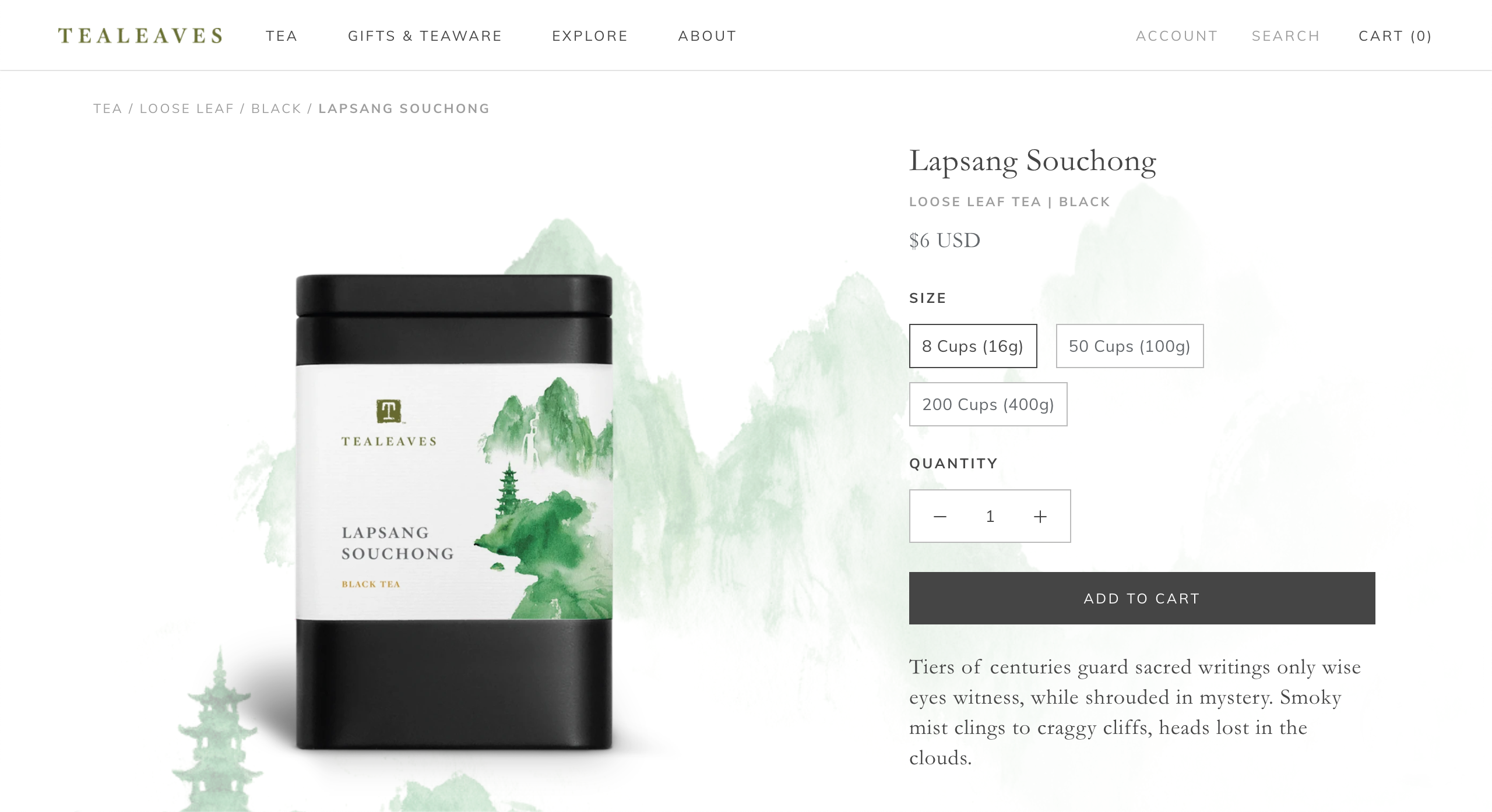 TEALEAVES product page on Shopify